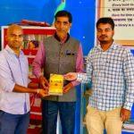 Government Middle School, Sushil Nagqar, Begusarai. Mr. Rakesh Kumar, TagorePrize Project Manager, Mr. Sriram Singh, Principal and Mr. Vishal Pandey, Librarian – March 1st, 2019.