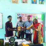 Government Senior Secondary School, Sehlang, Mahendragarh, Haryana. (L) Maneesh Singh, TagorePrize Project Manager, Mr. Tarun, Librarian, Dr. Gyan Singh, Principal, Ms. Subhlata, Teacher – September 11th, 2019.