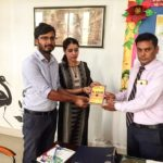 TagorePrize's Project Manager, Maneesh Singh (L) at G.R International School, Kanina, Haryana Mr. Suvendu Sinha (R) Principal and Ms. Kavita Librarian (M) – July 26th, 2019.